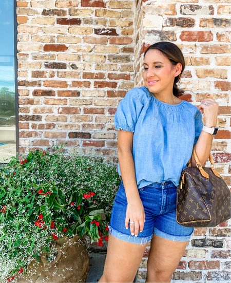 Madewell top and jean shorts. Madewell top runs a little big. Size down. This goes great with a cardigan and booties when transitioning into fall weather.   #LTKunder50 #LTKunder100 #LTKstyletip