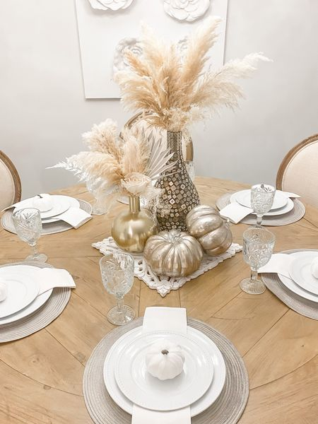 Fall Decor. No Orange here. ;)   #Boho #Neutral #Fall #Decor #Dinningroomtable #pumpkins #home #interiordesign  Follow my shop @allaboutastyle on the @shop.LTK app to shop this post and get my exclusive app-only content!  #liketkit  @shop.ltk http://liketk.it/3p5Z3      #LTKGiftGuide #LTKHoliday #LTKSeasonal