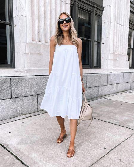 White midi dress (use code JACKSON15) tts - small. #sandals #whitedress #mididress #vacation http://liketk.it/3ie6t  @liketoknow.it #liketkit #LTKstyletip #LTKshoecrush