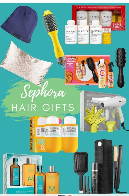 Hair gifts from Sephora.  Perfect for all the hair care lovers on your shopping list.   #ltkgiftguide #gifts #haircare #sephora #sephoragifts #naturalhair #ghd #amika #moroccanoil #curlyhair   #LTKunder50