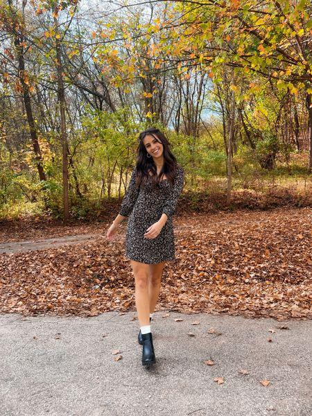 Black mini long sleeve fall dress with black chunky boots fall cute feminine outfit  #LTKstyletip #LTKunder50 #LTKSeasonal