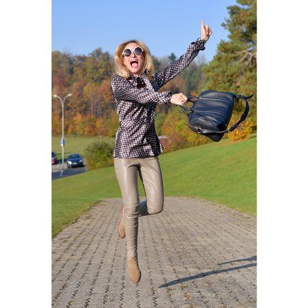 #Fall2016 #fashionover40 #40plusfashion #blouse #leather #bluebag #camelbooties http://liketk.it/2puoW @liketoknow.it #liketkit