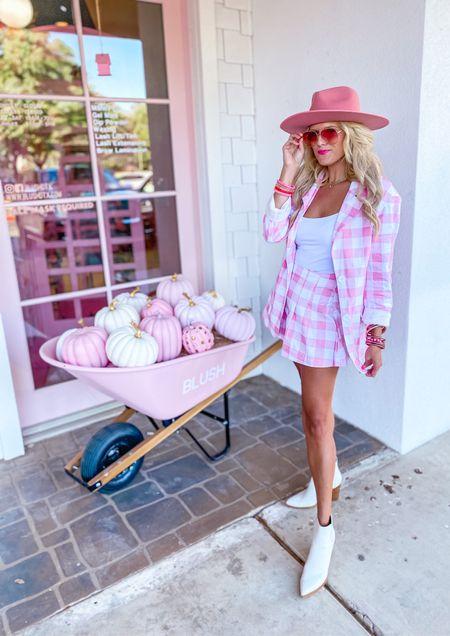 Pink plaid blazer size M  Matching pink skirt size M  White crop top size M White boots TTS  Pink hat  Fall style, workwear blazer, fall outfit, workwear look, concert inspo  Target gold hoops  Pink bracelet stack   #LTKunder50 #LTKstyletip #LTKworkwear