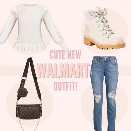 How darling is this new fall outfit from Walmart? I'm loving this cream, knit sweater paired with these adorable hiking booties! Paired it with an inspired bag and denim! #walmart #outfit #falloutfit #sweater   #LTKunder50 #LTKSeasonal #LTKfit