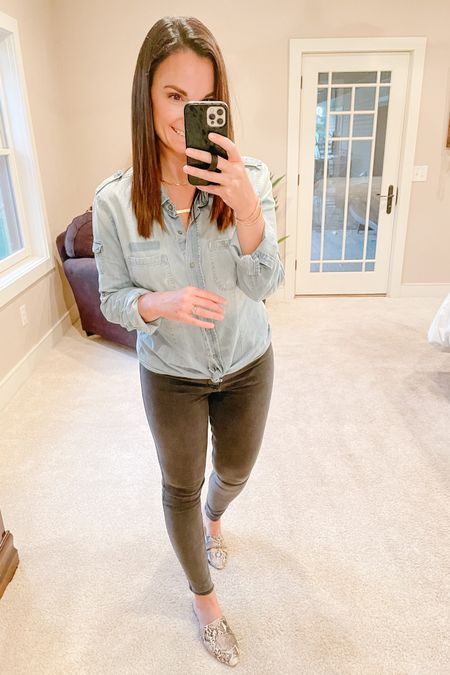 Simple grey jeggings and a staple denim button up. Works for every season but especially for those transitional times when you just don't know what to wear.   http://liketk.it/3cSfu #liketkit @liketoknow.it   Follow me on the LIKEtoKNOW.it shopping app to get the product details for this look and others