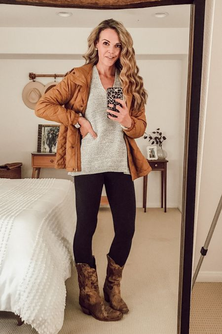 Light-weight puffer jacket (fits TTS) made from recycled materials. Toffee shade. Worn over cozy sweater and leggings + cowboy boots for a quintessential fall look. Outfit inspiration for pregnant ladies, too! #casualstyle #cozy #sweaterweather #momstyle #fallstyle  #LTKSeasonal