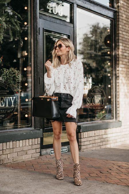 Lace top with a black denim skirt and leopard booties 🖤🖤🖤  #LTKunder100 #LTKstyletip #LTKSeasonal