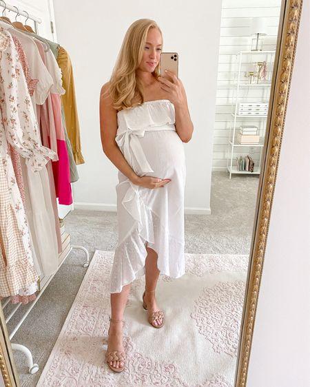 Such a cute white white dress under $50! Wearing a medium, I would size up if you have wider hips   http://liketk.it/3hW4d #liketkit @liketoknow.it #LTKunder50  #walmartfinds #walmartoutfit #whitedress #bumpfriendly #ltkbump