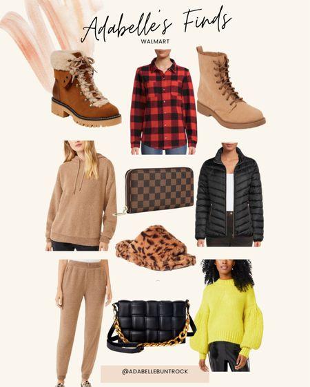 Walmart slippers dupe jacket plaid boots shoes Sherpa purse   #LTKunder50 #LTKunder100