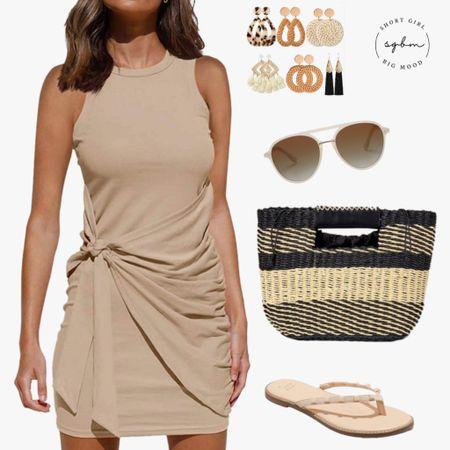 http://liketk.it/3hSvk #liketkit @liketoknow.it #LTKshoecrush #LTKstyletip #LTKunder50 bodycon dress, amazon dress, straw bag, studded sandals, statement earrings; date night, vacation style