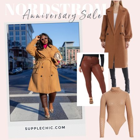 #nSale get the look camel coat outfit, camel coat #plussize, plus, leather pants and snakeskin pumps from @nordstrom   #LTKstyletip #LTKcurves #LTKsalealert