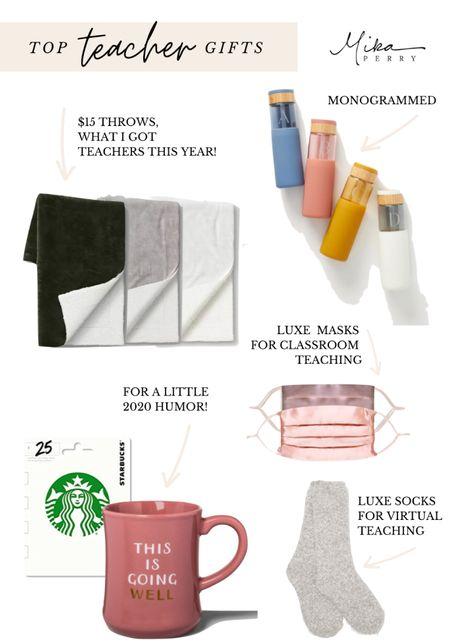 Teacher gift ideas guide 💚 Monogram water bottle, $15 Target throws, silk face masks, mugs, socks, Barefoot Dreams, Amazon, Anthro   #LTKgiftspo #LTKstyletip #LTKunder50