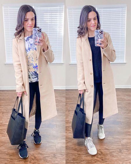 Ways to wear a Dad camel coat (xs) // style with leggings http://liketk.it/38G0r #liketkit @liketoknow.it #LTKstyletip