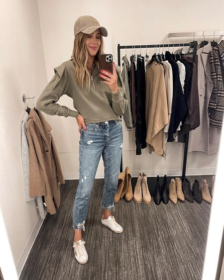 This sweatshirt may be my favorite piece from the sale. It's so comfy and I love the sleeve ruffle detail. I'm wearing an XS and it fits TTS. It's slightly fitted through the waist, size up for a relaxed fit.  I love wearing it with this suede baseball cap, jeans and sneakers for a casual weekend look! #nsale #nordstromanniversarysale #nordstrom #fashionjackson #fallfashion #liketkit  #LTKsalealert #LTKunder100 #LTKunder50