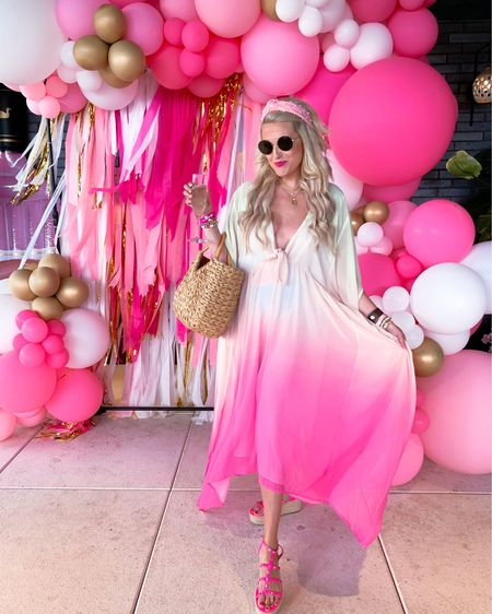 Vacation outfit, summer outfit, summer dress, resort style, swimsuit cover-up, date night outfit Ombré pink dress size M/L runs large so size down!  Buddy love sunglasses brown Beach bag, beach tote Pink studded wedges TTS http://liketk.it/3gNlP #liketkit @liketoknow.it #LTKDay #LTKunder100 #LTKswim
