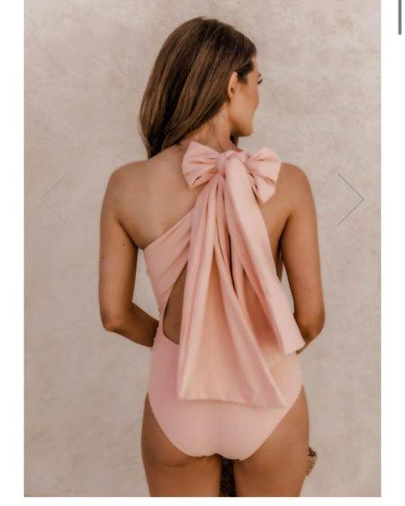 Bow one piece swim, blush swimsuit, modest swimsuits, open back one shoulder swim http://liketk.it/39MzY @liketoknow.it #liketkit #LTKswim #LTKunder50 #LTKtravel