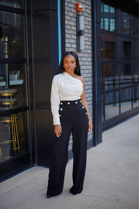 Asymmetric top and wide leg trouser...Great combo for sprint and summer. Outfit details on the blog and linked similar tops via the #liketkit app Hello April 👋🏾  . . #ootd http://liketk.it/3bSL2 #LTKunder50 #LTKstyletip #springstyle @liketoknow.it #dmvblogger