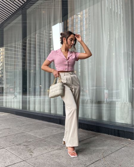 @princesspollyboutique stepping up my business casual game 💖   Business casual, trouser, satin trousers, trouser pant, wide leg trouser, suit style, button down top, pink button down, pink crop top, padded cassette bag, amazon bags, look for less, strappy sandals, block heel sandals, summer outfit, summer style, amazon finds  #LTKworkwear #LTKunder100 #LTKstyletip