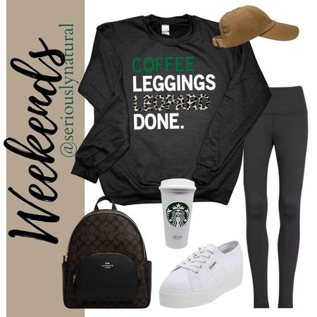 Fall outfit for weekends.  Comfy and cute.  All from Amazon and Etsy.   #founditonamazon #amazonfashion #womenfashion #coffee #starbucks #leggibgs #fitflop #weekends #curlcap #bags #desigberbag #baglady #coach #backpack #etsy #sweatshirt #momlife  #LTKshoecrush #LTKunder50 #LTKstyletip