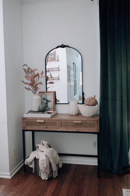 Console table, console, green curtains, fall console table, entryway table, entryway decor #consoletable #entrywaytable  #LTKhome #LTKSeasonal #LTKunder50