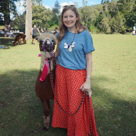 Colourful outfit with some cute little friends! Had the pleasure of taking Noodles and Pancake for a stroll at Mountview alpaca farm the other week 🦙 not sure if my kids or us grown ups were more excited 😂   Kept my outfit simple with this pretty thrifted red maxi skirt, beautiful blue tee and a statement necklace to dress it up a bit. The Louis Vuitton Neverfull was perfect for water bottles and of course my camera - took loads of pics of the kids cuddling alpacas ❤   ----------------------   ----------------- -------------------------------------  Screenshot this pic to shop the product details from the @liketoknow.it app, or click here: http://liketk.it/3grOx @mountviewalpaca #mountviewalpaca #realeverydaystylepic #everydaystyle #realmumstyle #wearedonthestreet #nevervainalwayscolour #frankifriendsinfashion #liketkit