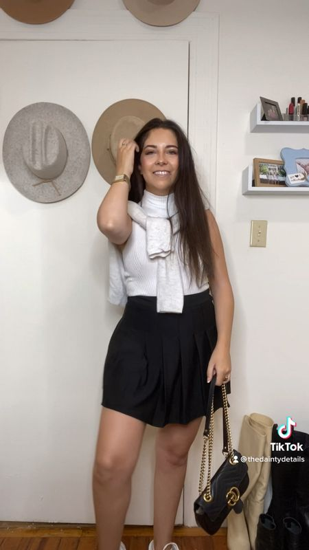 Preppy fall outfit! Tennis skirt + basic tank + cardigan over the shoulders!   #LTKSeasonal #LTKunder50 #LTKstyletip