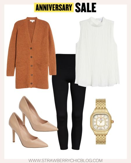 Business casual workwear look styled with Nordstrom Anniversary Sale pieces: gold women's watch, nude pumps and rust-colored cardigan.   #LTKstyletip #LTKworkwear #LTKsalealert