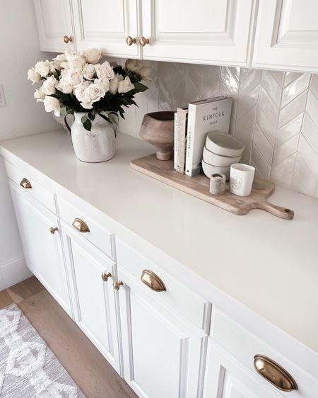 Kitchen counter, simple home accessories, roses, white kitchen style, StylinAylinHome   #LTKhome #LTKunder100 #LTKstyletip
