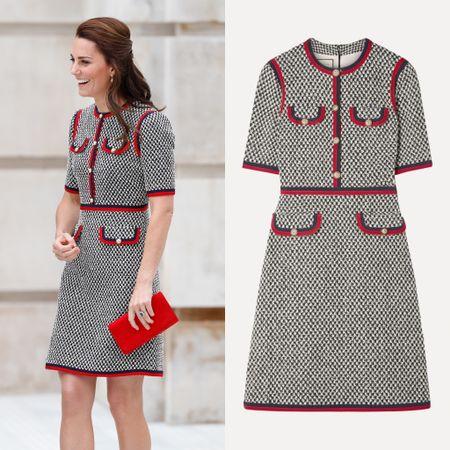 Kate wearing Gucci #designer #mod #tweed #vintage #houndstooth #work   #LTKworkwear #LTKstyletip