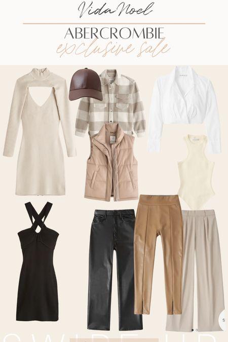 Abercrombie sale RS sale Fall neutrals Faux leather Leather pants  Plaid Shacket   #LTKSeasonal #LTKunder100 #LTKSale