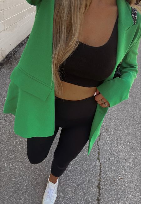 Sunday fit 🥦 these ysl sneakers are one of my fav designer purchases EVER! They go with everything + they're actually so comfortable!   Ootd, Green Blazer, Green Outfit, Casual Outfit, Leggings Outfit, Sneakers, YSL, Chanel, Zara, Revolve, Summer Fashion, Fall Fashion, Transitional Fashion, Transitional Outfit     #LTKstyletip #LTKunder100 #LTKitbag