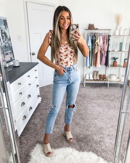Casual summer outfit 🤍 floral bodysuit under $40 and affordable chunky heels http://liketk.it/3ifEm #liketkit @liketoknow.it #LTKunder50 #LTKstyletip #LTKshoecrush