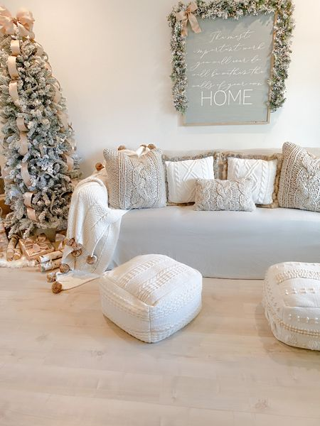 http://liketk.it/32Y6T  Cozy Living Room Christmas Decor Couch Slip Cover Chunky Knit Pillows Flocked Tree Floor Poufs  #liketkit #LTKhome #StayHomeWithLTK #LTKfamily @liketoknow.it @liketoknow.it.home @liketoknow.it.family