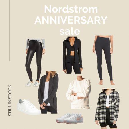 #nsale women's clothing finds still in stock Nordstrom anniversary sale, spanx faux leather leggings, plaid shirt, sneakers, sweatshirt, leggings, cardigan, lounge, activewear, sale finds.  #LTKfit #LTKsalealert