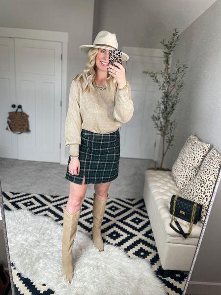 Walmart outfit, plaid skirt, knee-high boots, sweater weather   #LTKunder50 #LTKshoecrush #LTKstyletip