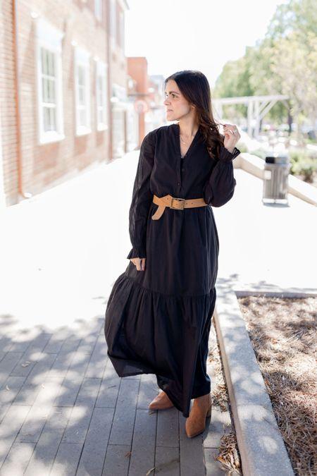 ABLE Jane Maxi dress (runs big, I sized down to xxs), Carolina belt, brown booties — Fall outfit idea   #LTKstyletip