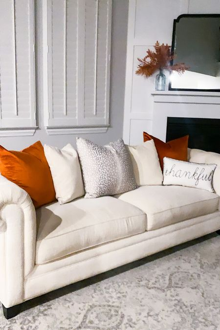 Added these Amazon rust colored throw pillows to our living room to make it more fall! Also linked our living room rug since i always get asked about it!  #LTKhome