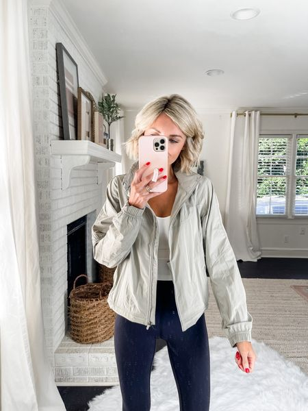 Loverly Grey has paired this tan jacket with a legging.   #LTKstyletip