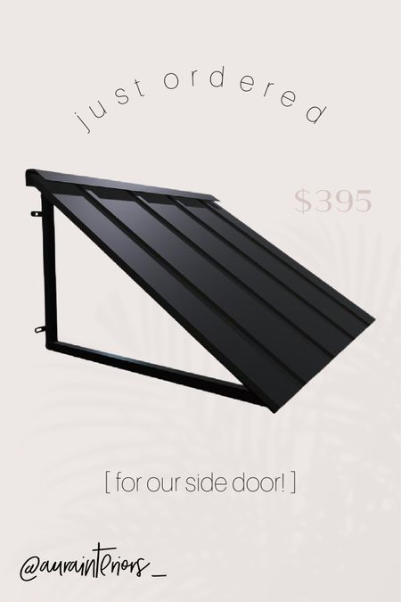 """So excited for our new awning! This black metal awning is simple, modern + will go perfectly with our black shutters! 🖤 We went with the 4' wide [actual width: 56""""], 36"""" deep awning, but there are tons of different sizes available!   Shop my daily looks by following me on LIKEtoKNOW.it!! 🌞 http://liketk.it/3aVQQ #liketkit @liketoknow.it @liketoknow.it.home #LTKhome   black metal awning, modern awning, metal window awning, metal door awning, modern awning, black awning, metal awning, sloped awning, awntech, beauty mark, beauty mark awning, awntech awning, 56"""" awning, 4' awning, 5' awning, 6' awning, 3' awning, 36"""" deep awning, 3' deep awning, 48"""" awning, 68"""" awning, single door awning, door covering, window covering, black door awning, black window awning, modern exterior door, modern porch, modern door, modern exterior, just ordered, interior designers house, interior designers home, exterior design, modern exterior, affordable awning, inexpensive awning, awning under $500, awning under $400, modern side door, side door awning, entry door, entry door awning, front door, modern front door"""