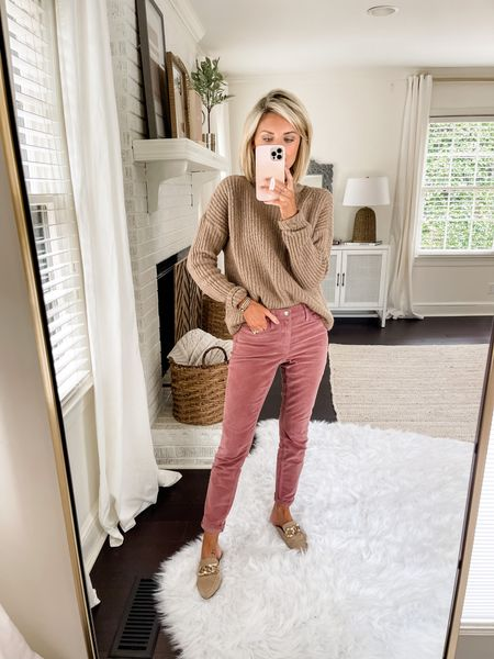 Loverly Grey has paired these colored corduroys with a chunky sweater! She has sized down on the pants and is wearing a 00  #LTKstyletip
