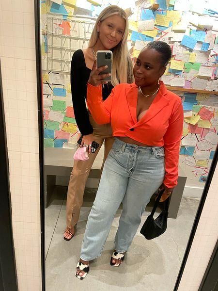 NYFW Outfit 1 🥨🍎 cropped blazer, Levi ribcage jeans, cow print mules #ltkfall   #LTKshoecrush #LTKstyletip