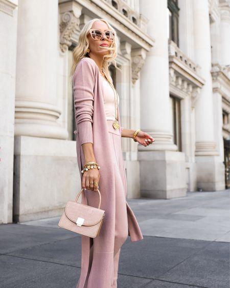 Fall neutrals. Knit long cardigan. Rose knit separates. Knit joggers. Workwear. Julie vos Jewerly.   #LTKworkwear #LTKstyletip #LTKSeasonal