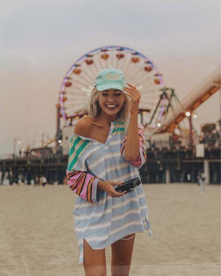 Go to beach outfit- oversized shirt and baseball hat 🧢   #LTKswim #LTKstyletip #LTKunder50