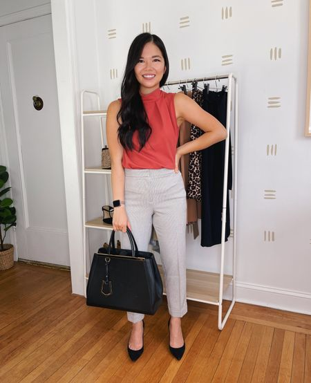 Business casual outfit: Dusty pink sleeveless top (XS), gray plaid ankle pants (4P), black suede pumps (TTS).  Amazon fashion, Amazon finds, J.Crew, neutral outfit, fall outfit, work outfit, teacher outfit.  #LTKstyletip #LTKworkwear #LTKunder50