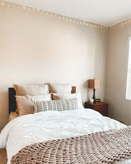 simple & sweet bedroom 💫 : throw pillows, lumbar pillows, throw blankets, queen bed, dresser, nightstand.   http://liketk.it/3erf8   #liketkit #LTKhome #LTKsalealert #LTKunder50 @liketoknow.it