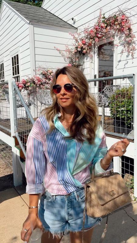 Multi color striped top under $45 Sz S I crossed the front to add interest.   Agolde Parker Shorts  Summer outfit, summer color! Herfashionedlife   #LTKSeasonal #LTKunder50 #LTKstyletip