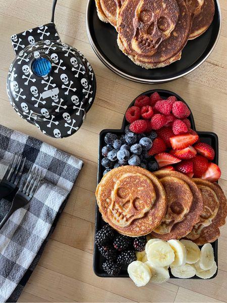 H A L L O W E E N \ Making spooky waffles this morning with the fam💀   #breakfast #cooking #chef #kitchen #halloween #halloweendecor  #LTKhome #LTKunder50 #LTKSeasonal