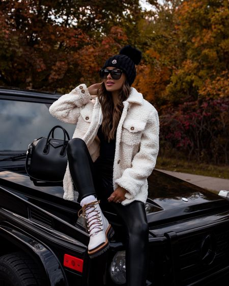 Hiking outfit / Casual fall outfit ideas  Marc Fisher shearling boots run TTS Moncler beanie  Commando faux leather leggings wearing an XS Nordstrom shearling jacket wearing an XS Givenchy Antigona bag