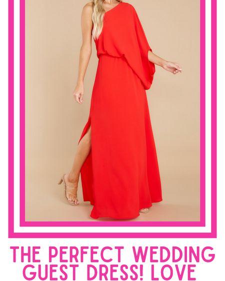 Red maxi dress, wedding guest dress, wedding guest attire, one shoulder red maxi dress  http://liketk.it/3k5d6 @liketoknow.it #liketkit #LTKwedding