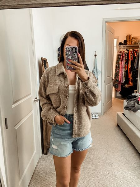 Fall outfit // fall style // shacket // sweater outfit// fall fashion // denim shorts // under $150 // z supply // cozy clothes // sweater weather   #LTKunder100 #LTKstyletip #LTKtravel